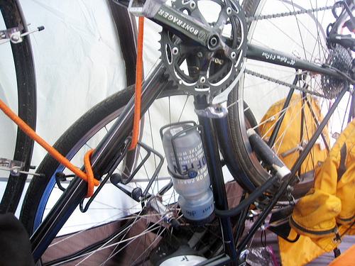 My bike lives with me inside my tent.
