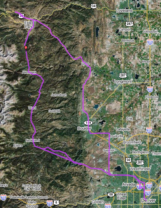 Route to and from Estes Park