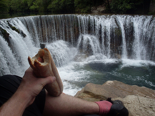 Lunch by the waterfall