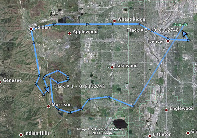 Ride 4/7/11 as saved by a SPOT II and mapped on Google Earth