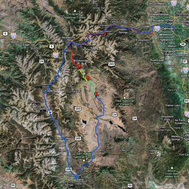 Denver - Frisco -></noscript> Boreas Pass -> Como -> Hartsel -> Salida -> Buena Vista -> Leadville -> Frisco -> Denver
