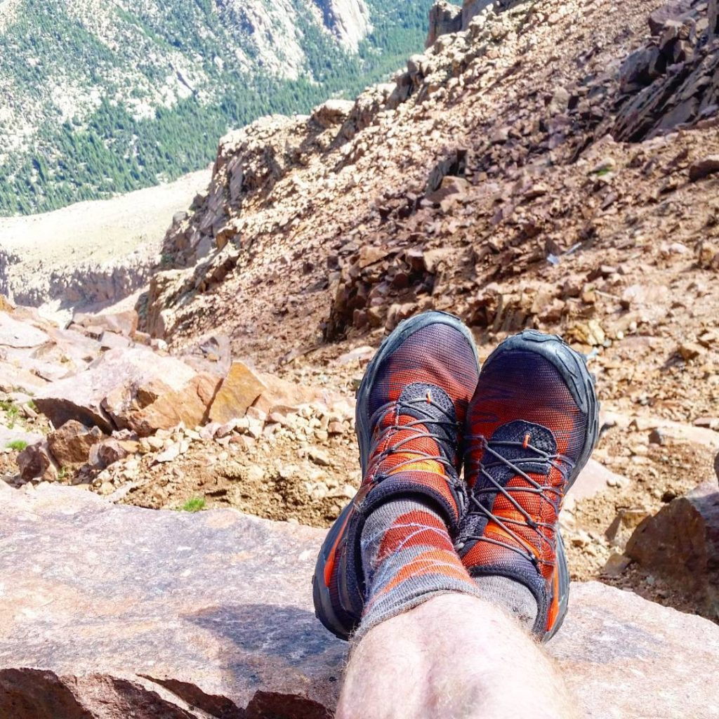 Summit of Pikes Peak, looking down one of the North Face couloirs