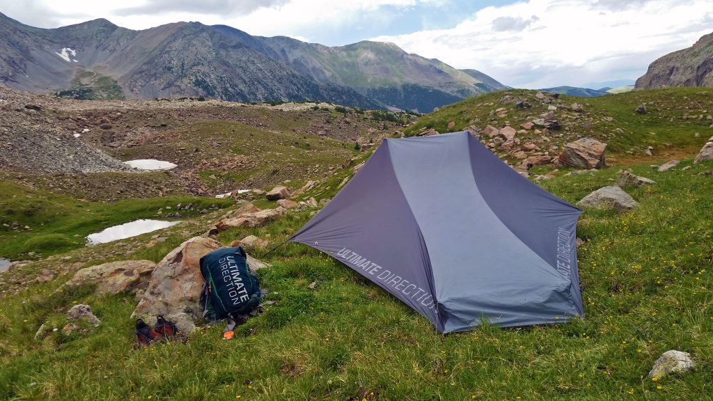 Utilizing the Ultimate Direction FK Tarp near Mount Lindsey, in the Sangres de Cristo Wilderness
