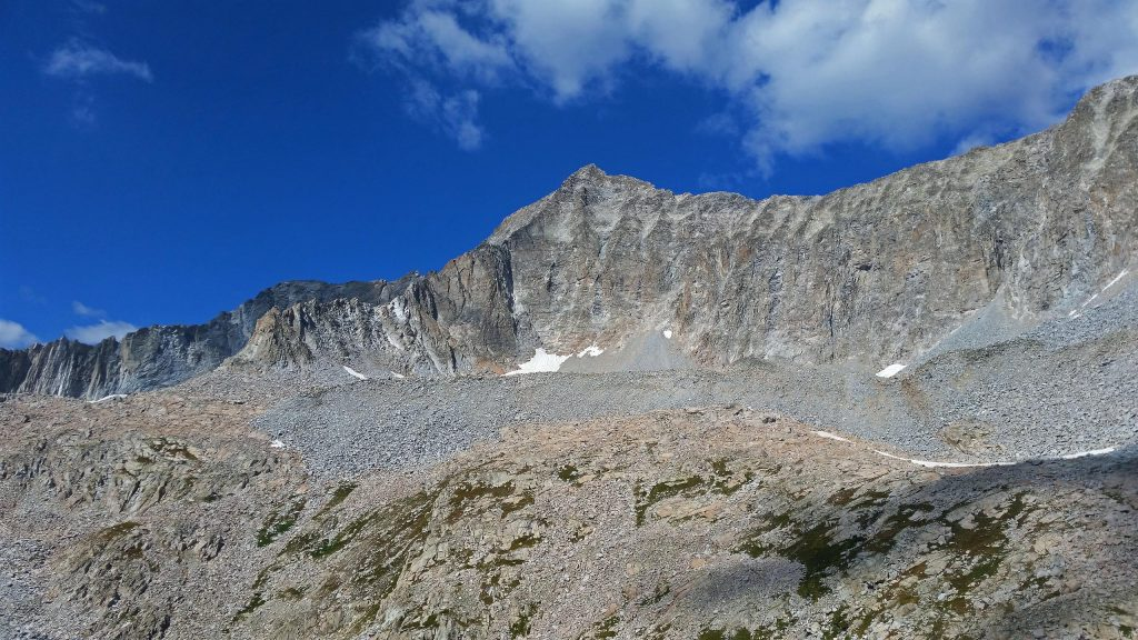Capitol Peak, and the Knife Edge seen from Pierre Lakes Basin