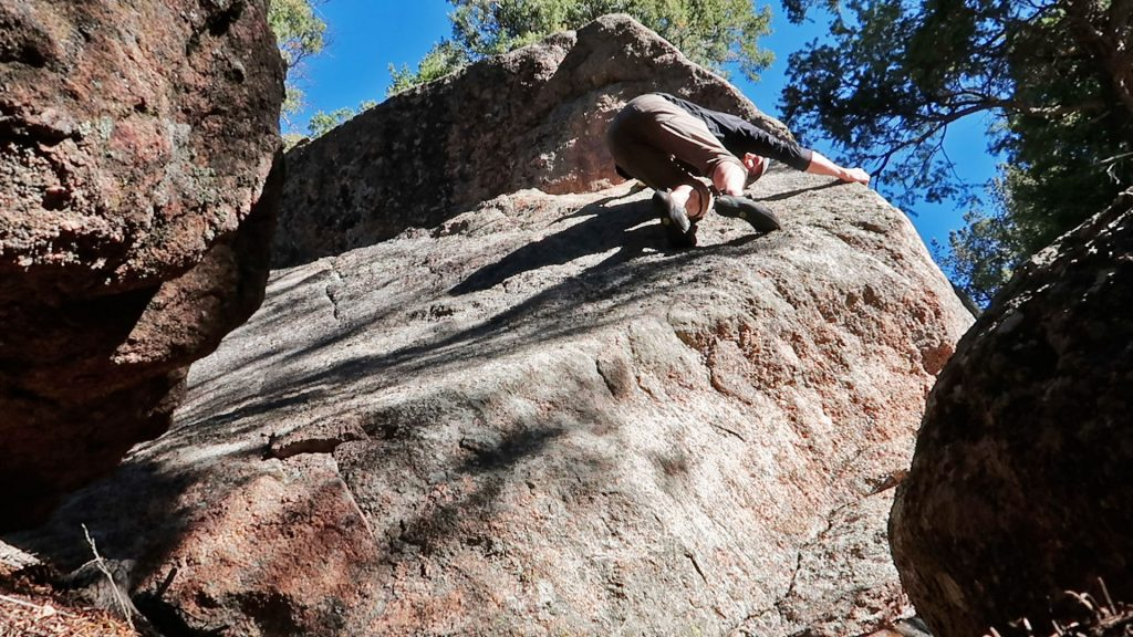 One of the many no-hands slab problems found in Rampart Range Road. I claim the first ascent (*snicker*)