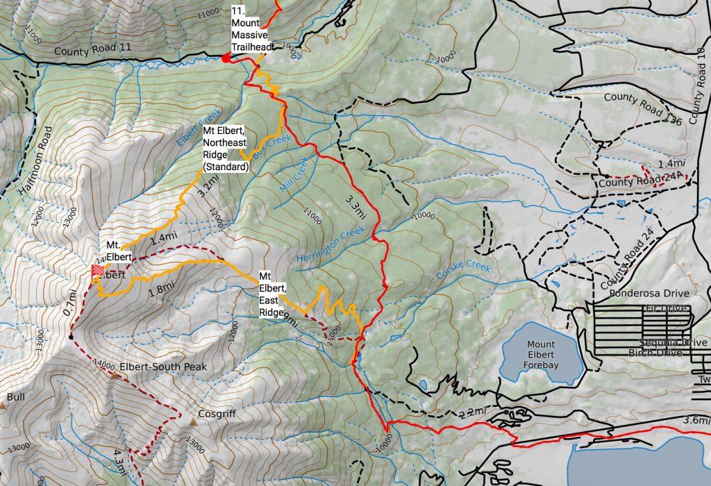 Mt. Elbert routes off the Colorado Trail