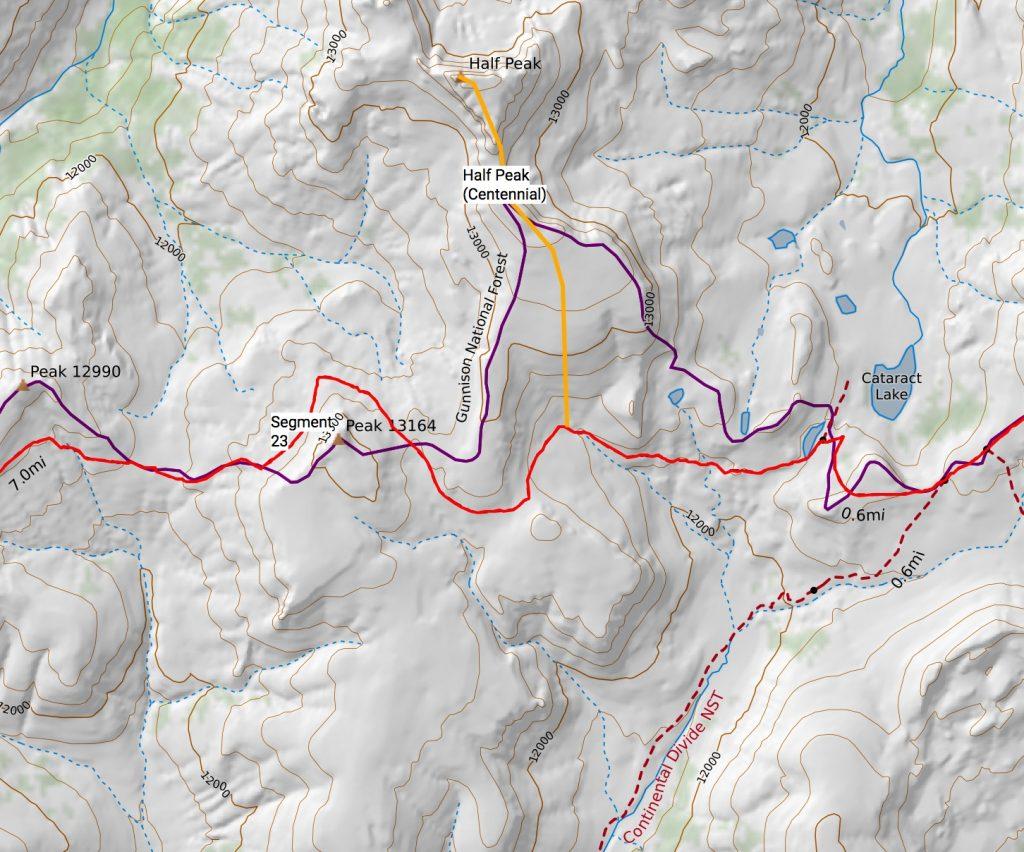 Half Peak route off the Colorado Trail