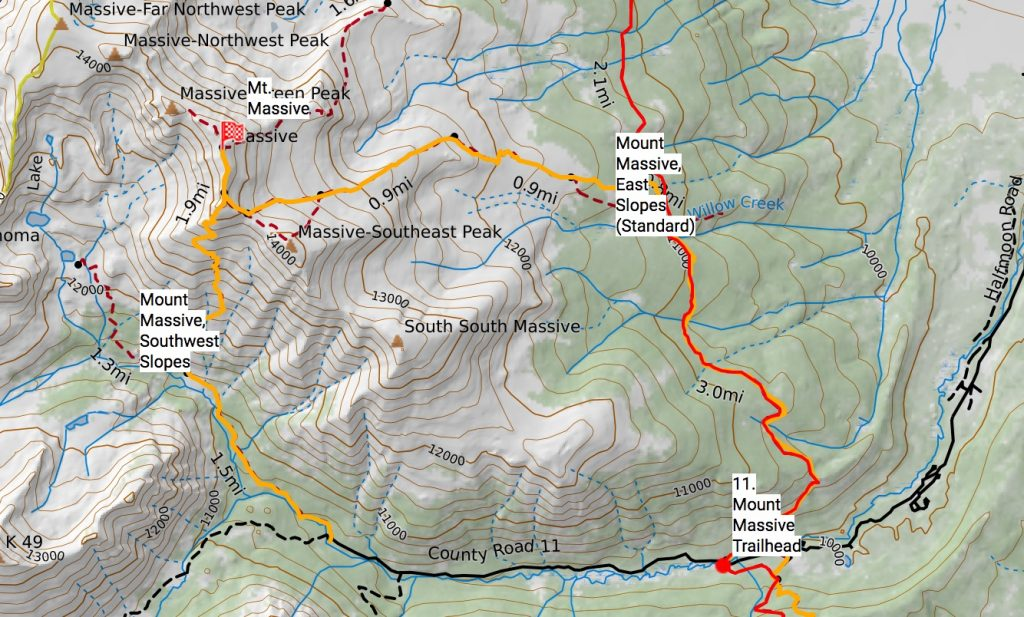 Mt. Massive routes off the Colorado Trail