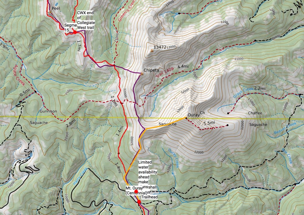 Mt. Ouray route off the Colorado Trail