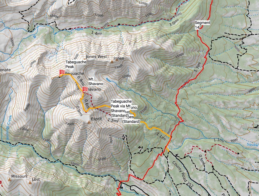 Shavano/Tabeguache route off the Colorado Trail