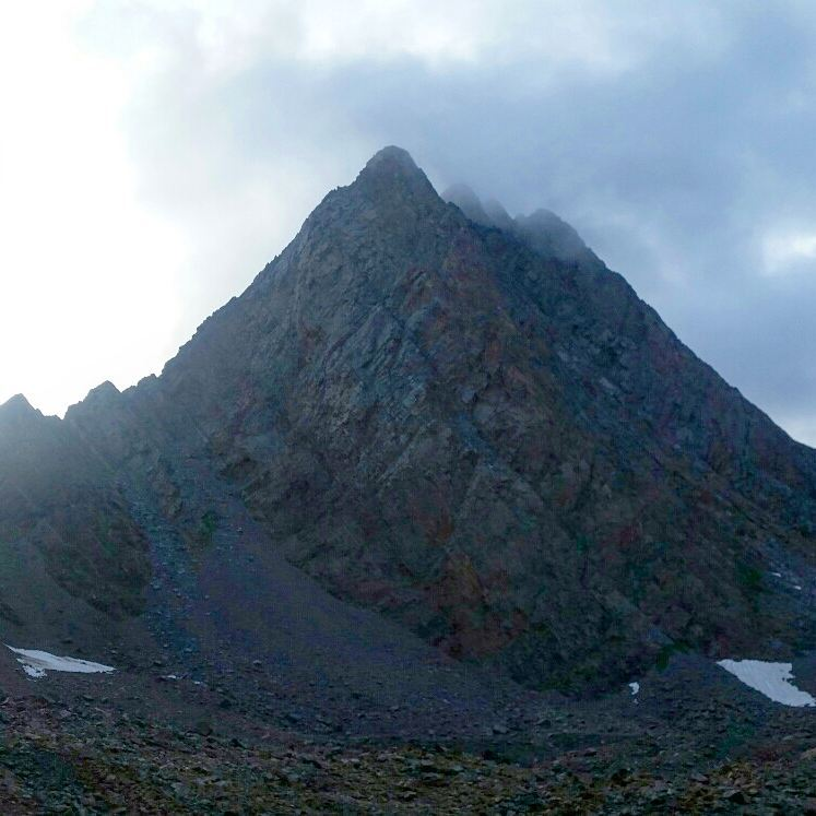 Vestal Peak, engulfed in clouds