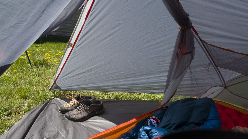 The Copper Spur HV UL1 Bikepack tent vestibule, with optional footprint seen from the interior