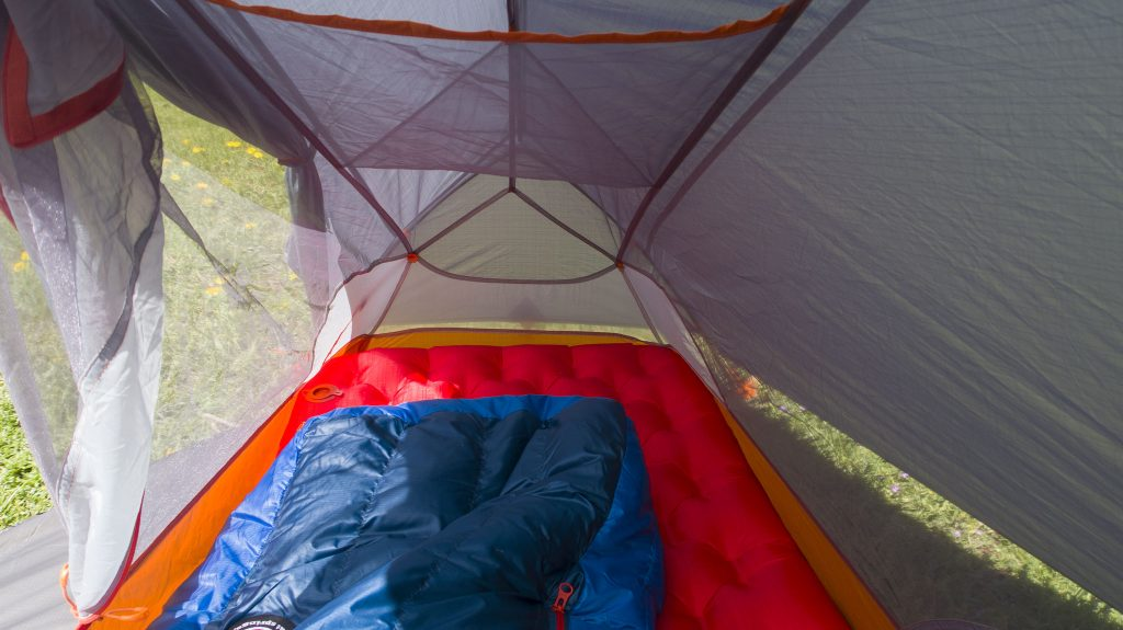 The Copper Spur HV UL1 Bikepack Tent interior with Big Agnes Insulated AXL Air Long sleeping bad fitting snugly inside