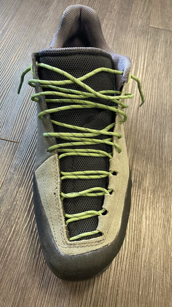 Opening up the laces of the TX Guide Leather