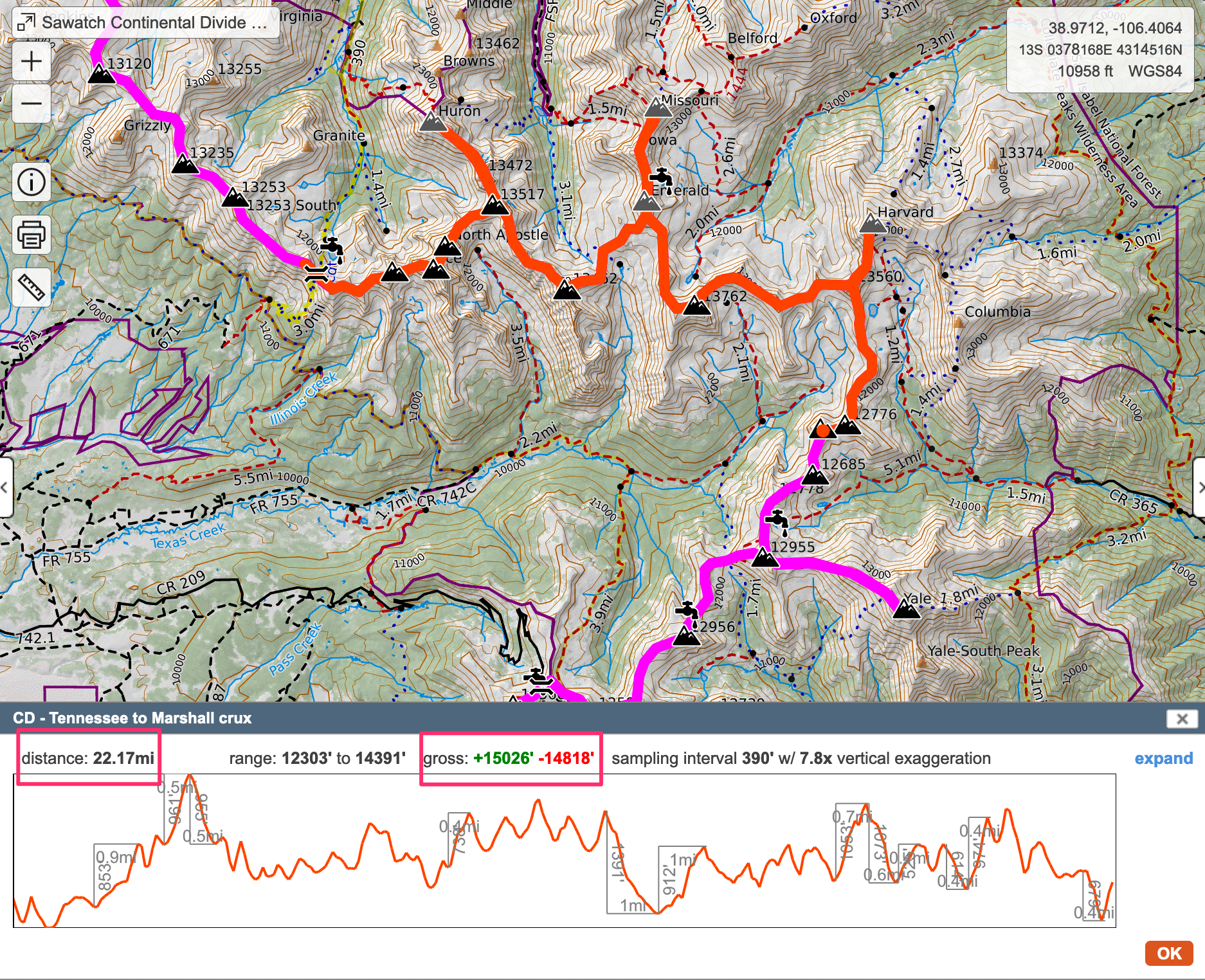 The Crux of the Sawatch Continental Divide ridge traverse (in red)