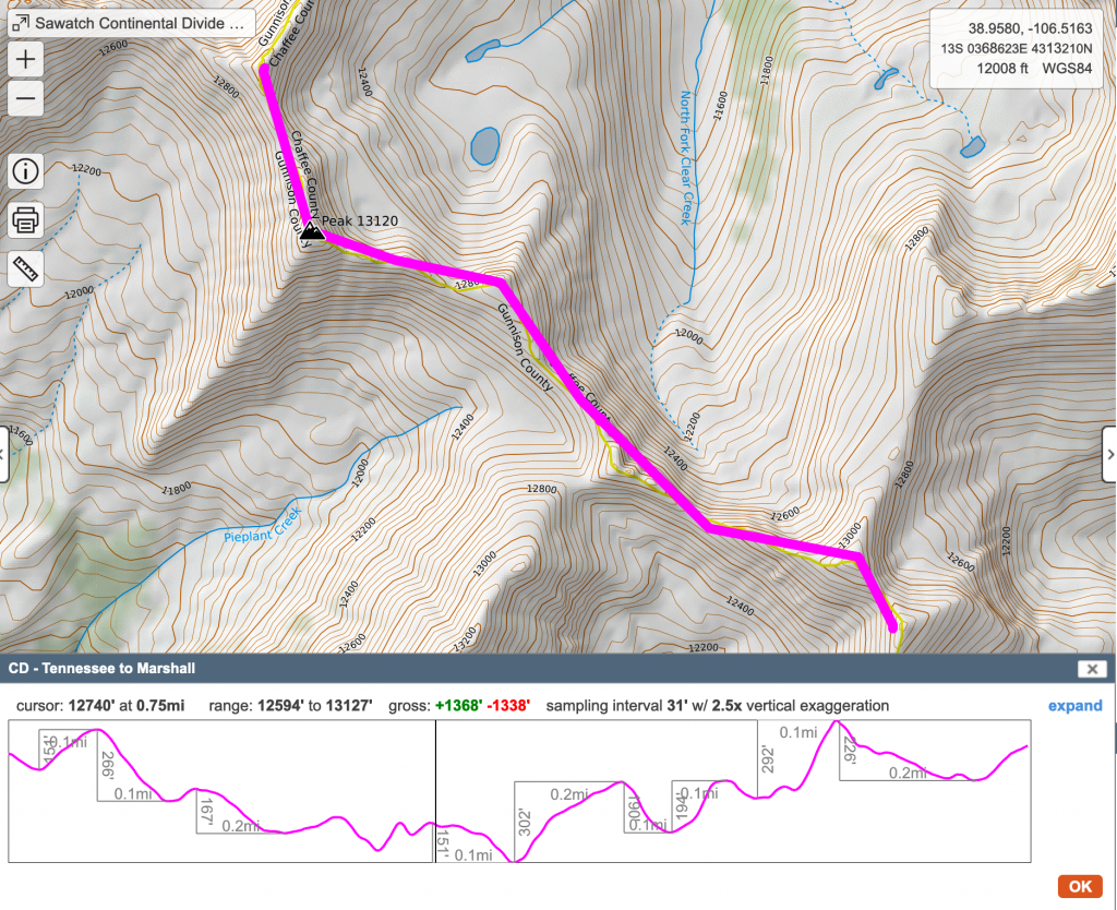 sample ridgeline with elevation profile