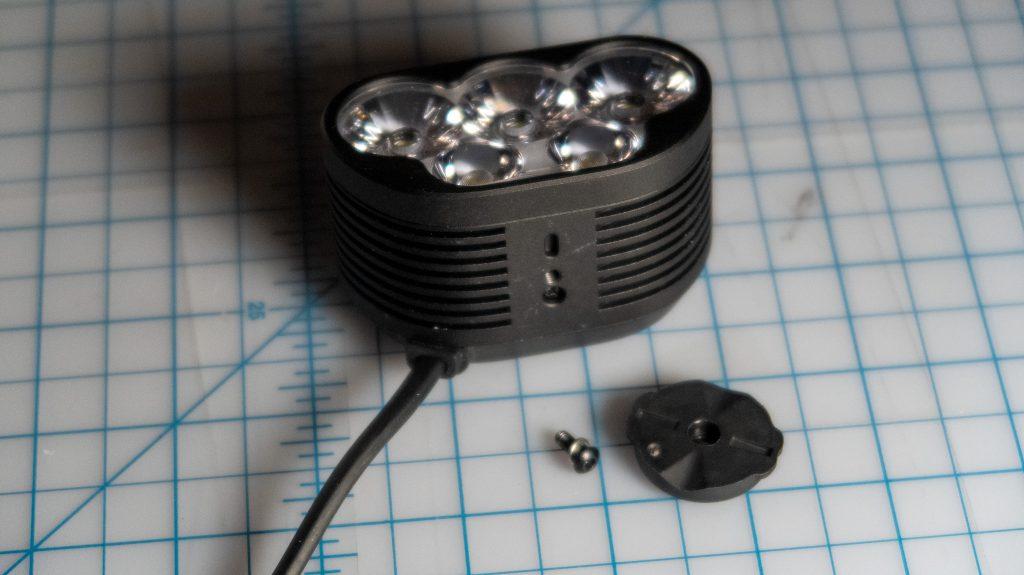 The Magicshine Monteer 6500S light unit: bottom w/Garmin-style mount removed