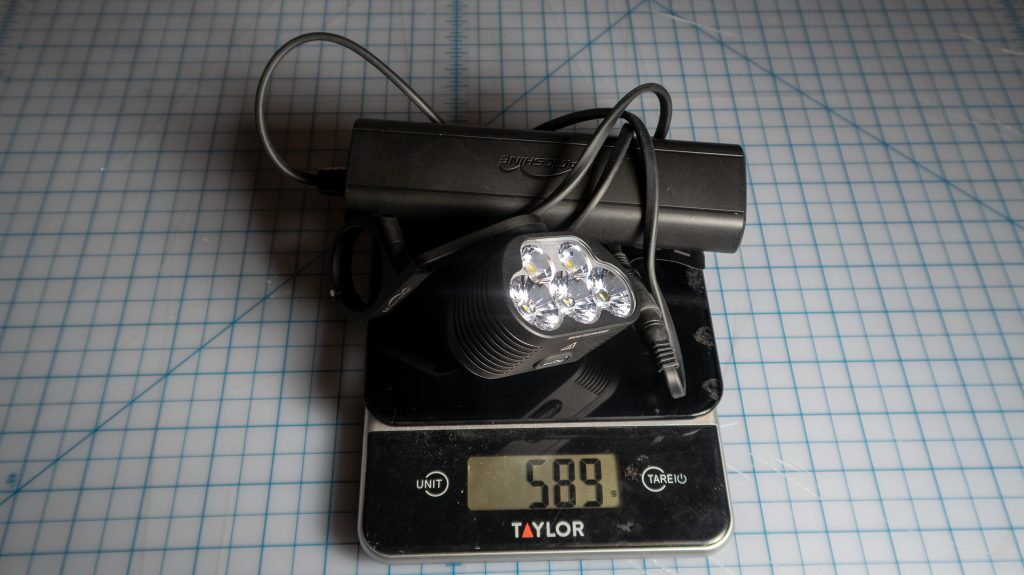 Magicshine Monteer 6500S light + battery pack total weight: 589 grams