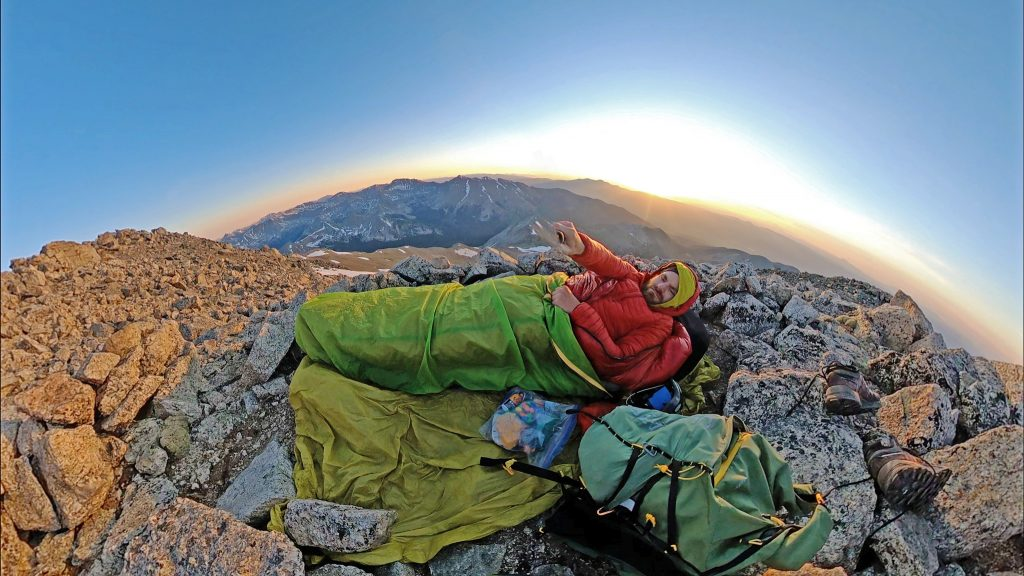 Bivvy on Mt. Yale - Mt Columbia in the background