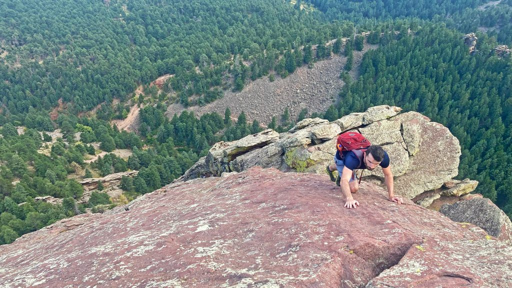 Nolan topping out the last pitch of the Third Flatiron